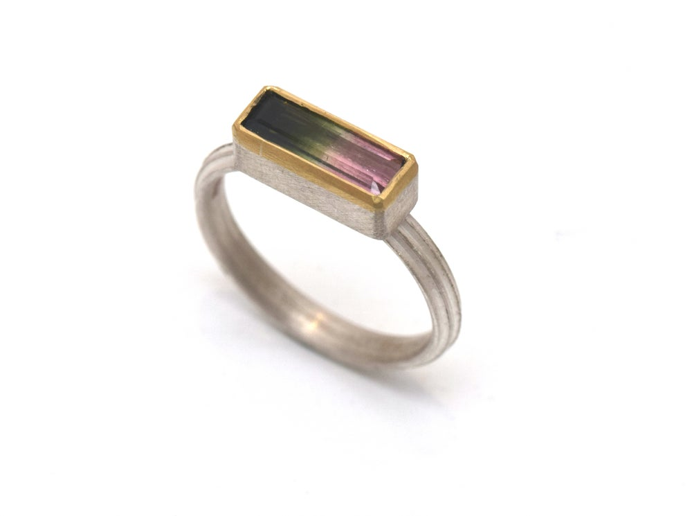 Image of Starta ring set with 10mm multicoloured tourmaline. Sterling silver and 18ct gold