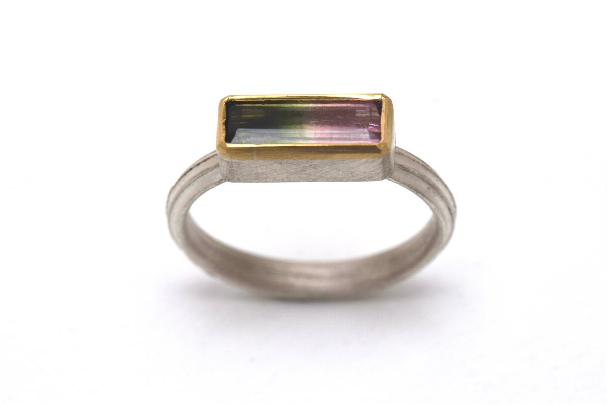 Starta ring set with 10mm multicoloured tourmaline. Sterling silver and 18ct gold