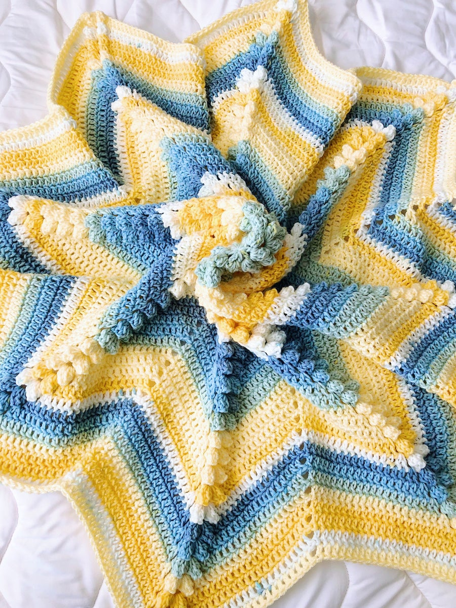 Knotes And Knots Blue And Yellow Crochet Star Blanket