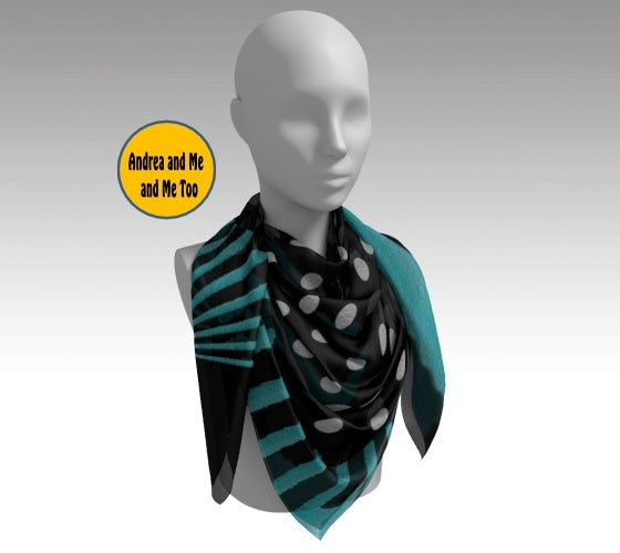 Image of Women's Scarf Blue Black and White Stripes with Dots
