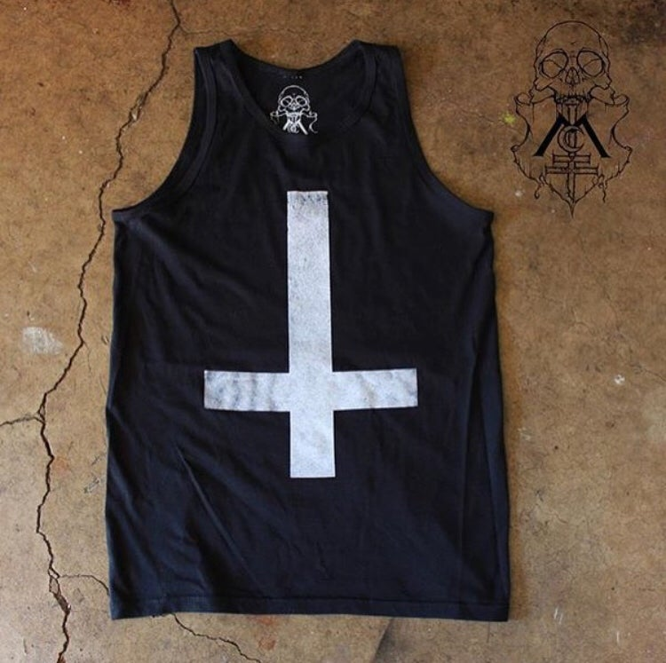 Image of Men's BLACK Upside-Down Cross Tank Top