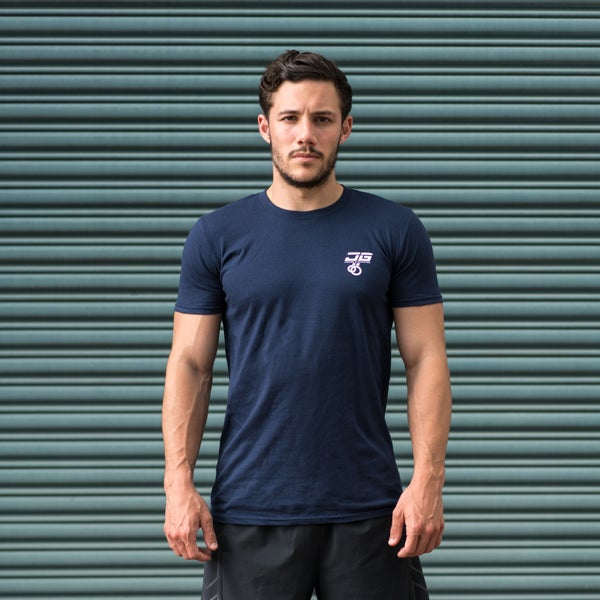 Image of Jacked Gymnastics Iron Cross Tee Navy