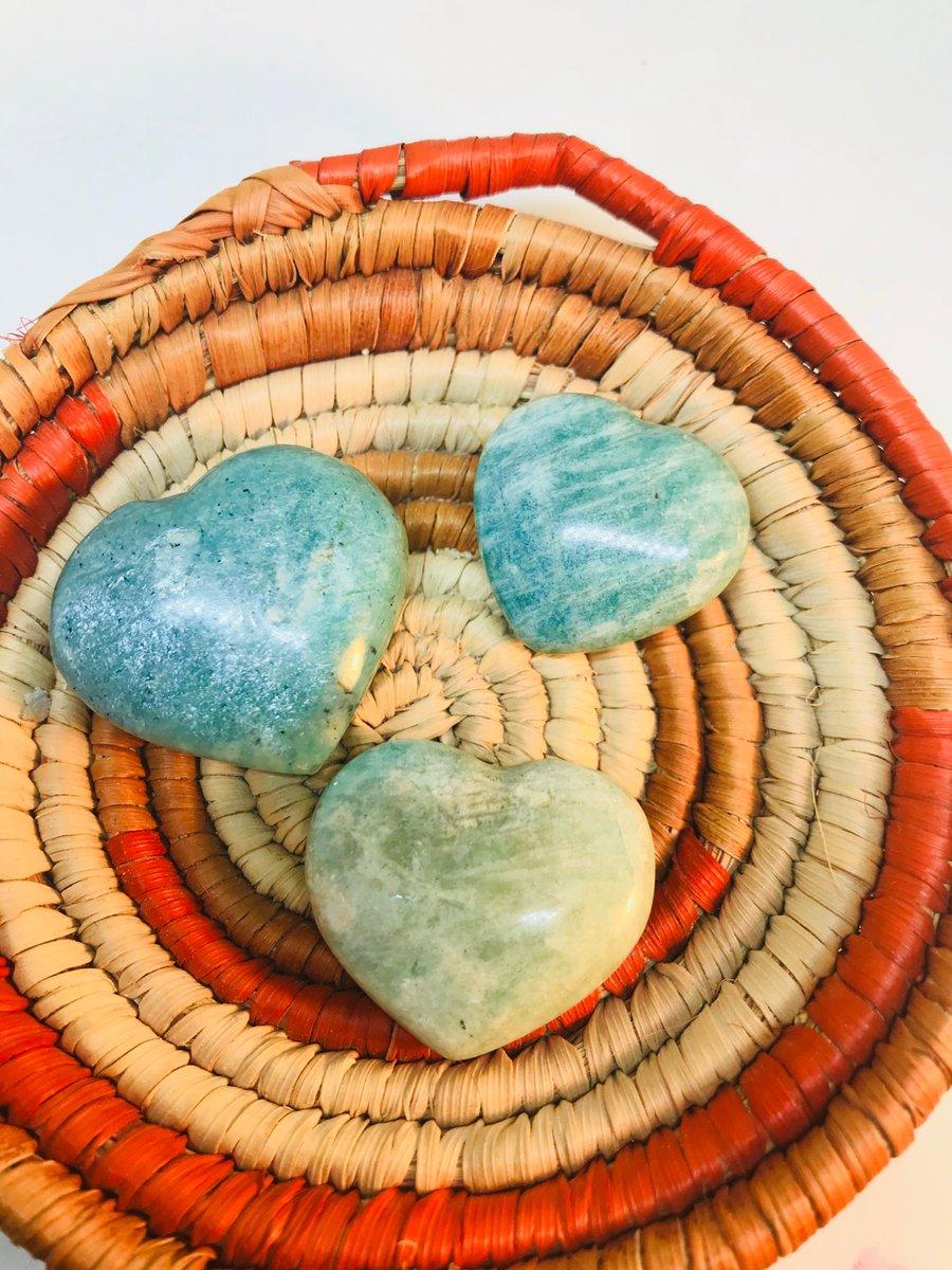 Image of Amazonite hearts (3pc)
