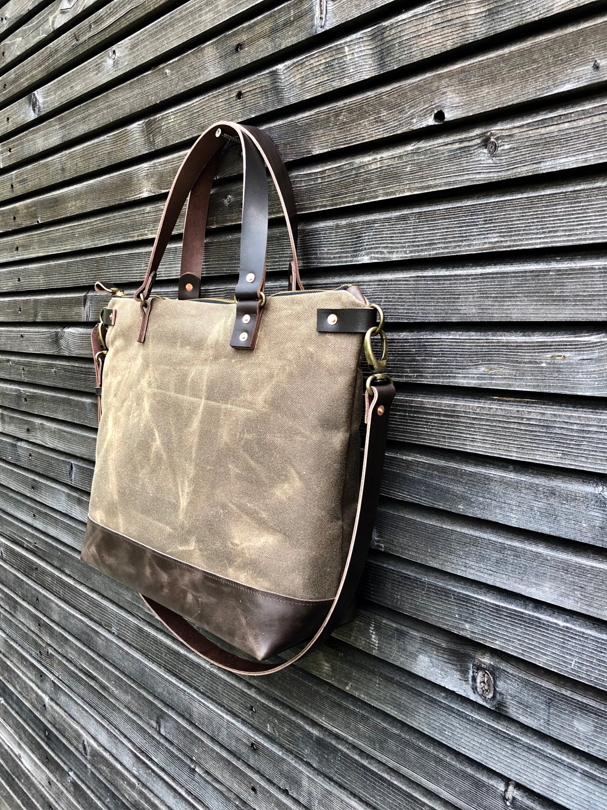 Image of Canvas leather carry all, with leather cross body strap