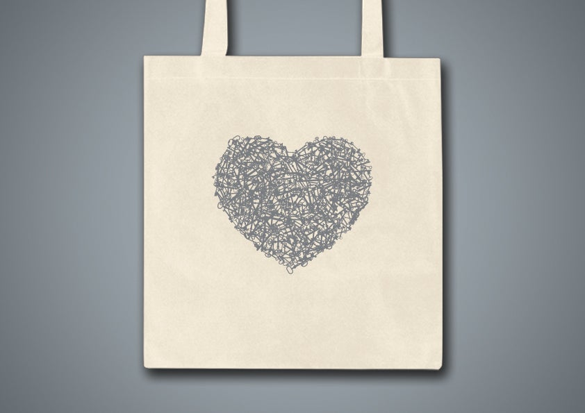 Image of Key Heart Natural Tote Bag