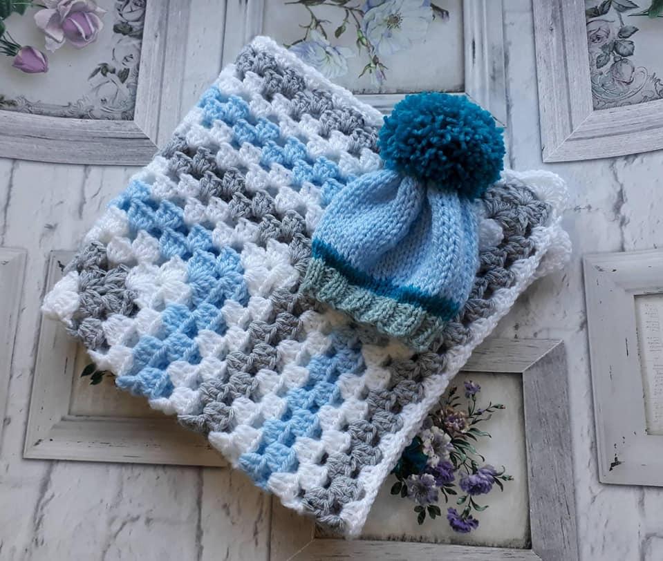 Newborn Baby Boy Crochet Blanket Knitted Pom Pom Hat Baby Wear