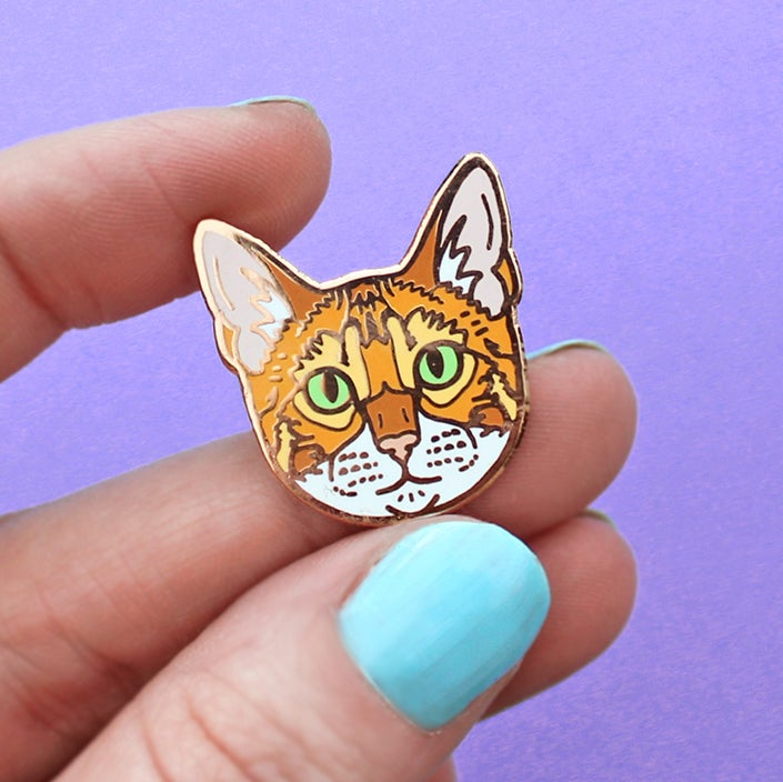 Image of Bengal cat, hard enamel pin - rose gold plating - cat breed - cat pin - cat gift - lapel pin badge