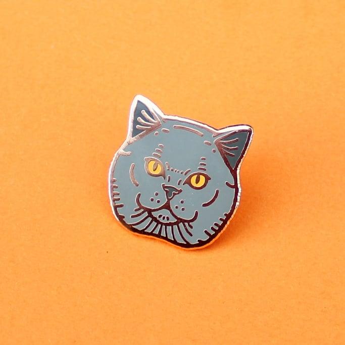 Image of British Shorthair cat, hard enamel pin - rose gold plating - cat breed - cat pin - lapel pin badge