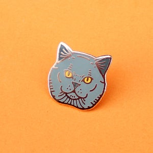 Image of British Shorthair cat, hard enamel pin - rose gold plating - cat breed - cat pin - lapel pin badge