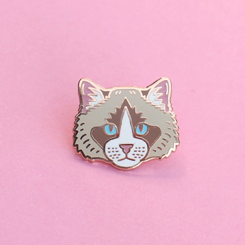 Image of Ragdoll cat, hard enamel pin - rose gold plating - cat breed - cat pin - raggie - lapel pin badge