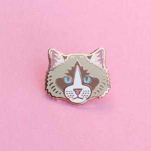 Image of Ragdoll cat, hard enamel pin - rose gold plating - cat breed - cat pin - raggie - lapel pin badge