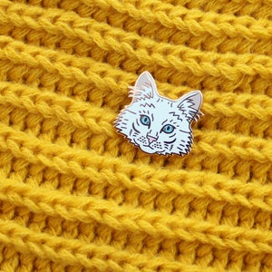 Image of Turkish Angora cat, hard enamel pin - rose gold plating - cat breed - cat pin - lapel pin badge