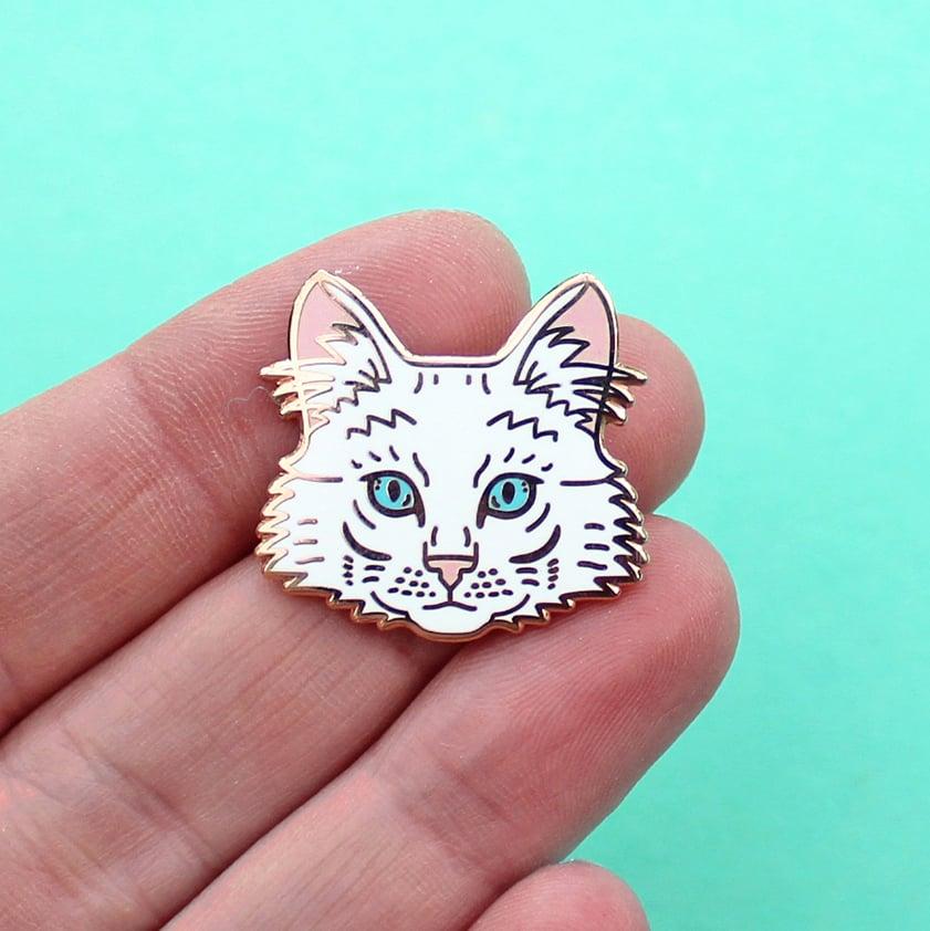 Image of Turkish Angora cat, hard enamel pin - rose gold plating - cat breed - cat pin - lapel pin badge