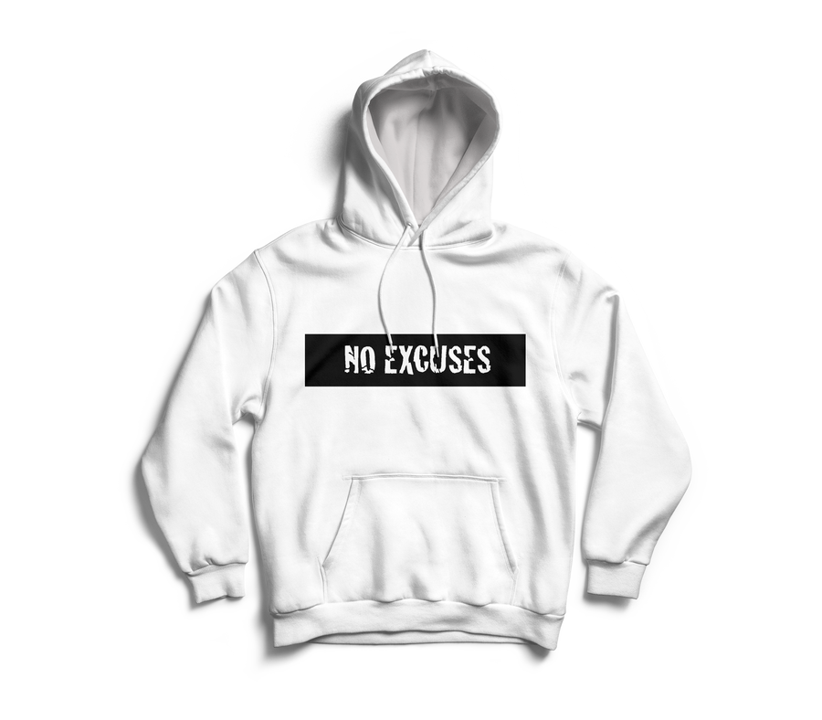 Image of 'No Excuses' White Hoodie