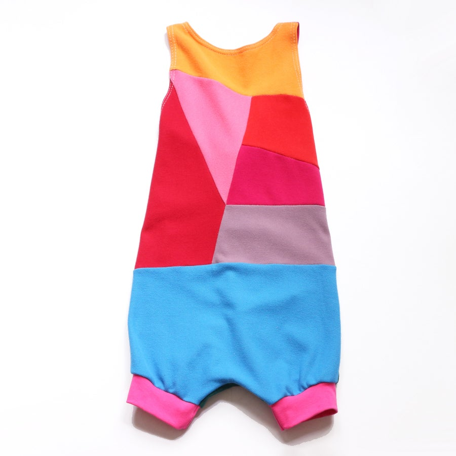 Image of prism precious 5/6 rainbow pieced romper courtneycourtney colorblock patchwork