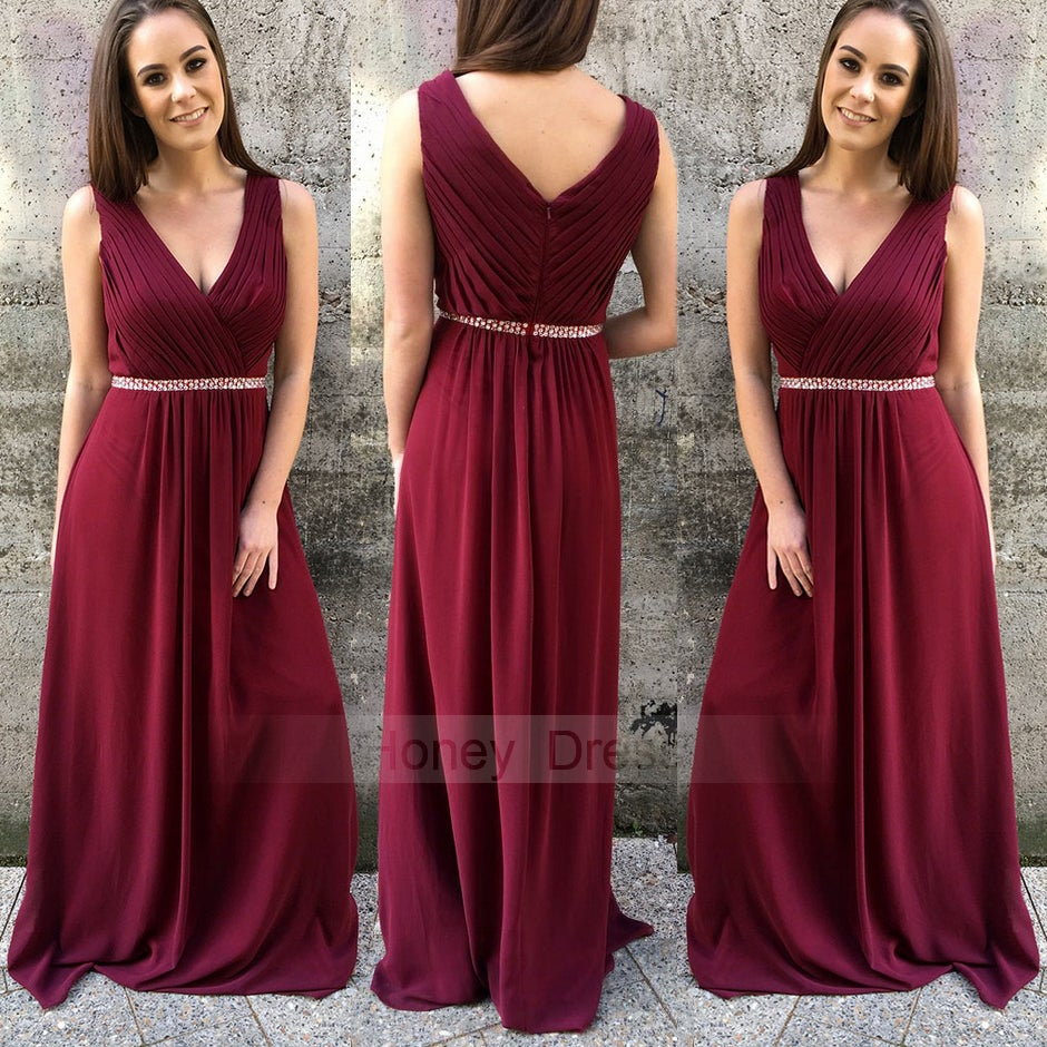 4b8014028834 Image of Burgundy Wine Red Chiffon Ruched V-neck Long Prom Bridesmaid  Dresses With Beaded