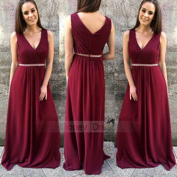 Image of Burgundy Wine Red Chiffon Ruched V-neck Long Prom Bridesmaid Dresses With Beaded Waistband