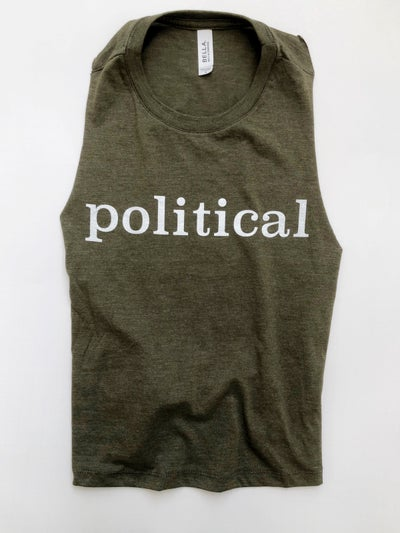 Image of political cropped racerback tank