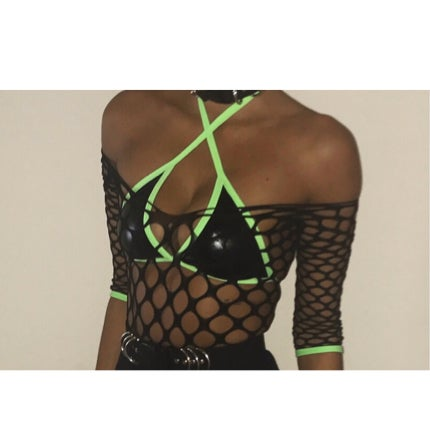 Image of Neon Edge Wet Look Bralet  (6 colour trim to choose from )