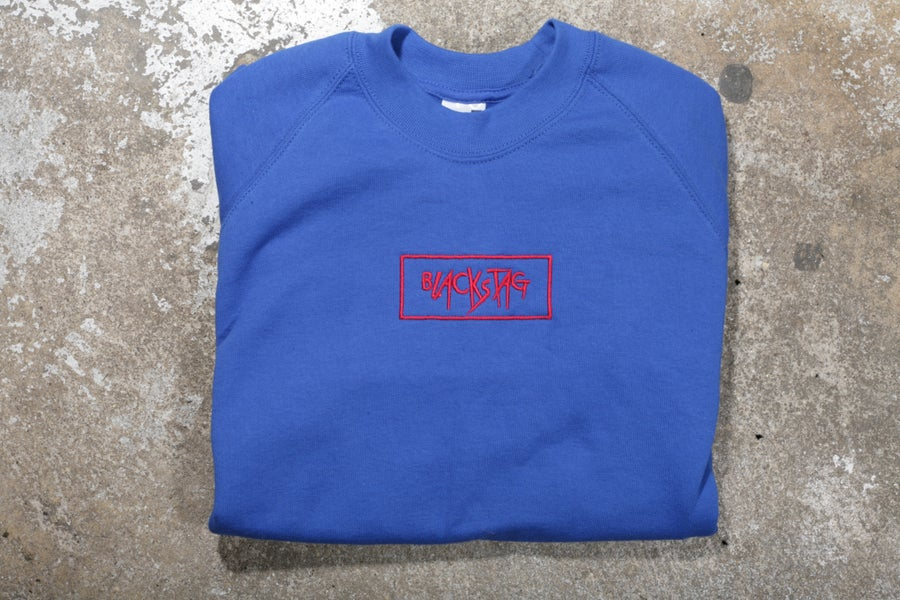 Image of CUSTOM SHOP Royal Blue embroidered crewneck sweater
