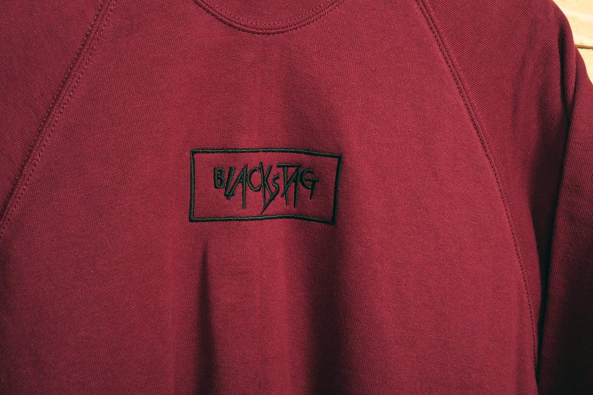 Image of CUSTOM SHOP Burgundy embroidered crewneck sweater