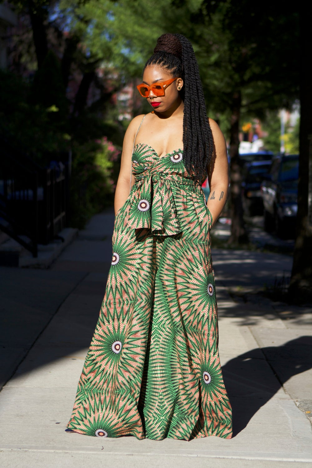 Image of NevaeH - Green Infinity African Print Ankara Jumpsuit Pallazzo Pants