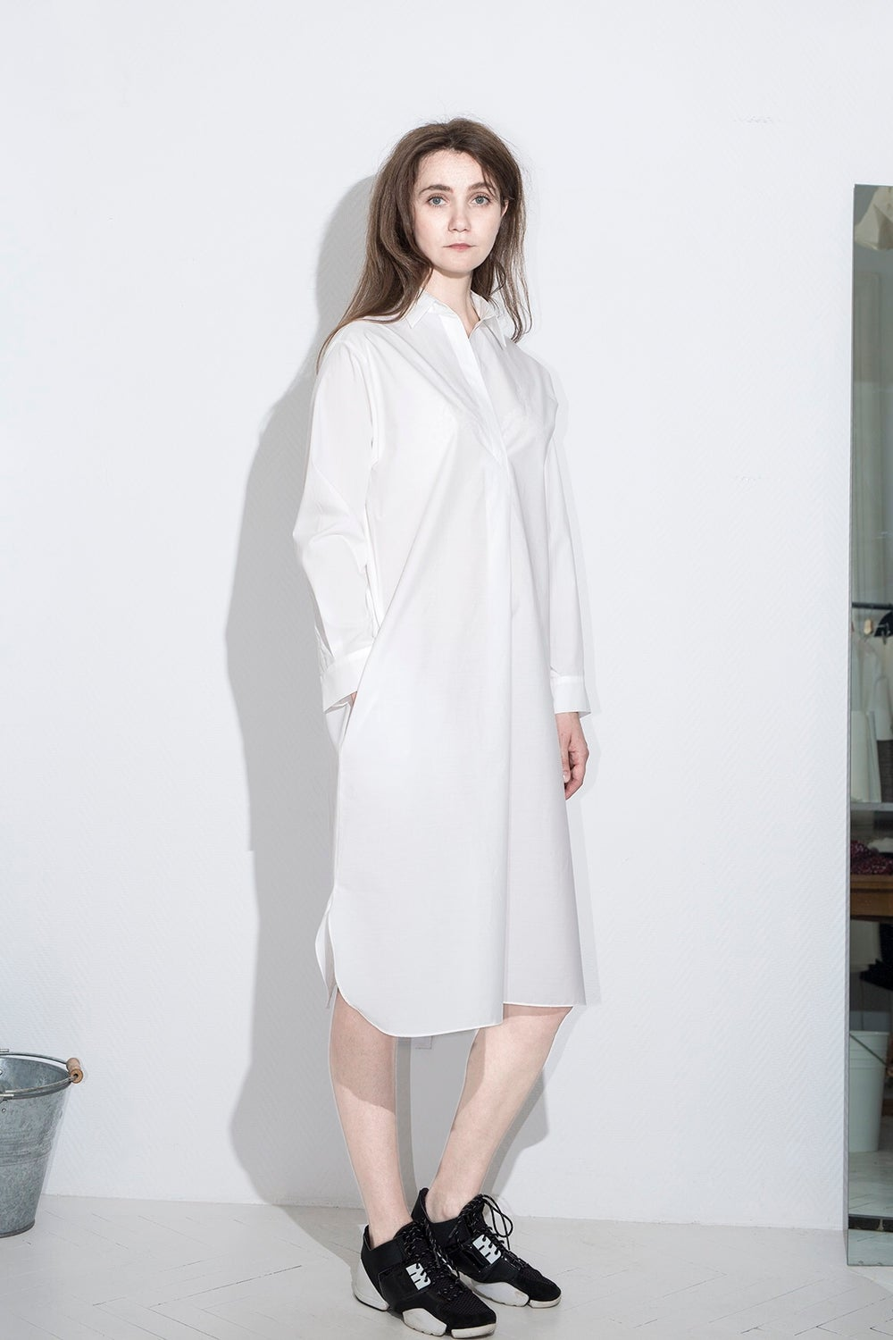 Image of White cotton shirt dress