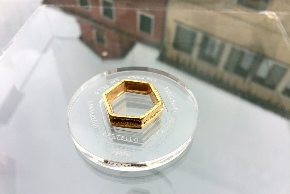 Image of gold plated silver ring VENEZIA
