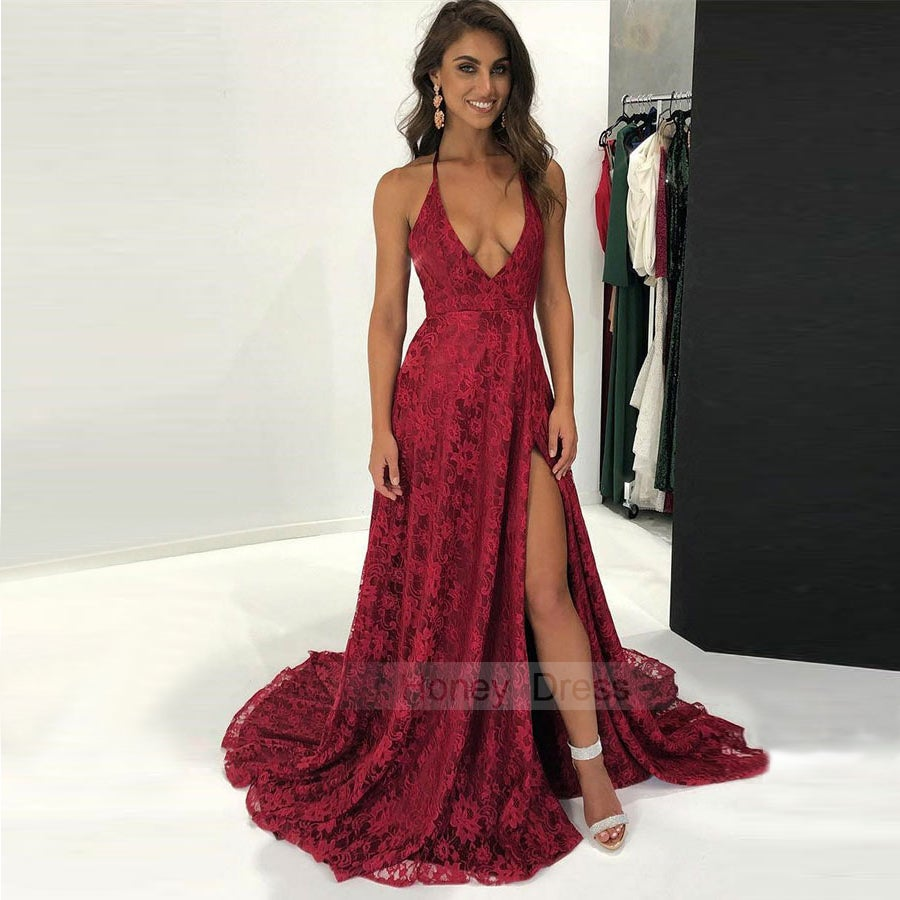 Image of Sexy Spaghetti Strap Burgundy Lace Deep V-neck A-line Evening Gown With Side Slit