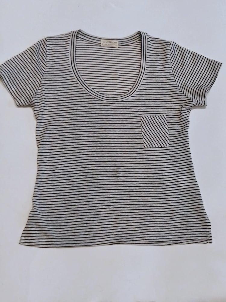 Image of NONCHALANTE Stripes Cotton and Linen Tshirt