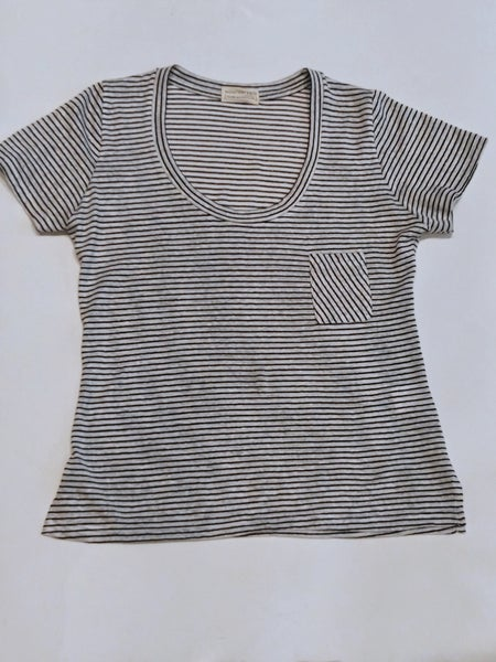 Image of NONCHALANTE Stripes Cotton and Linen Tshirt