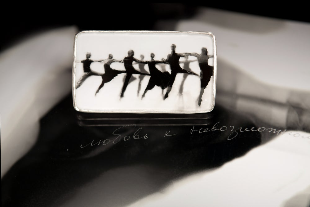 Image of sterling silver brooch with ballet photography under glass