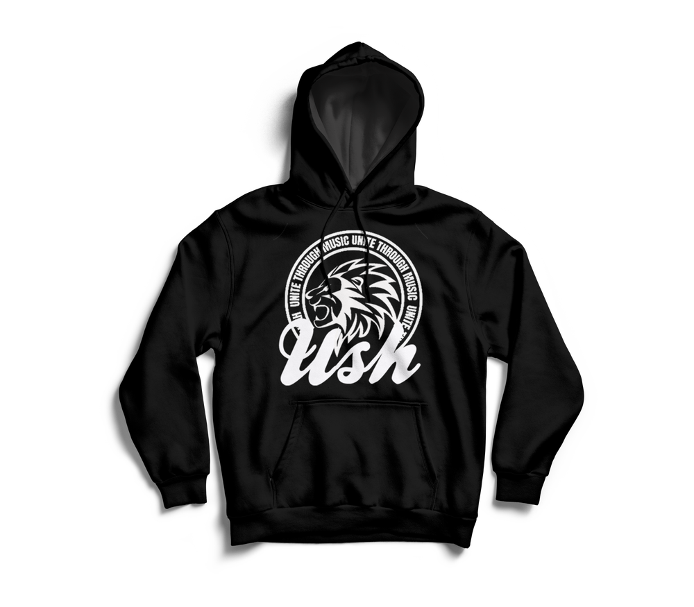 "Image of ""USH Lion"" Black Pull Over Hoodie"