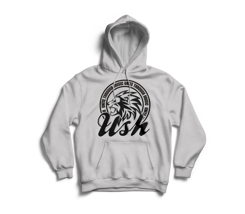 "Image of ""USH LION"" Grey Pull Over Hoodie"