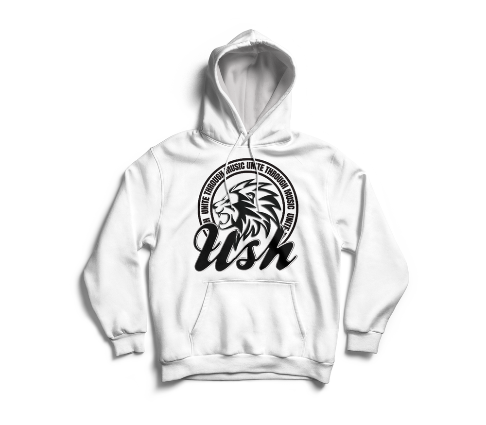 "Image of ""USH LION"" White Pull Over Hoodie"