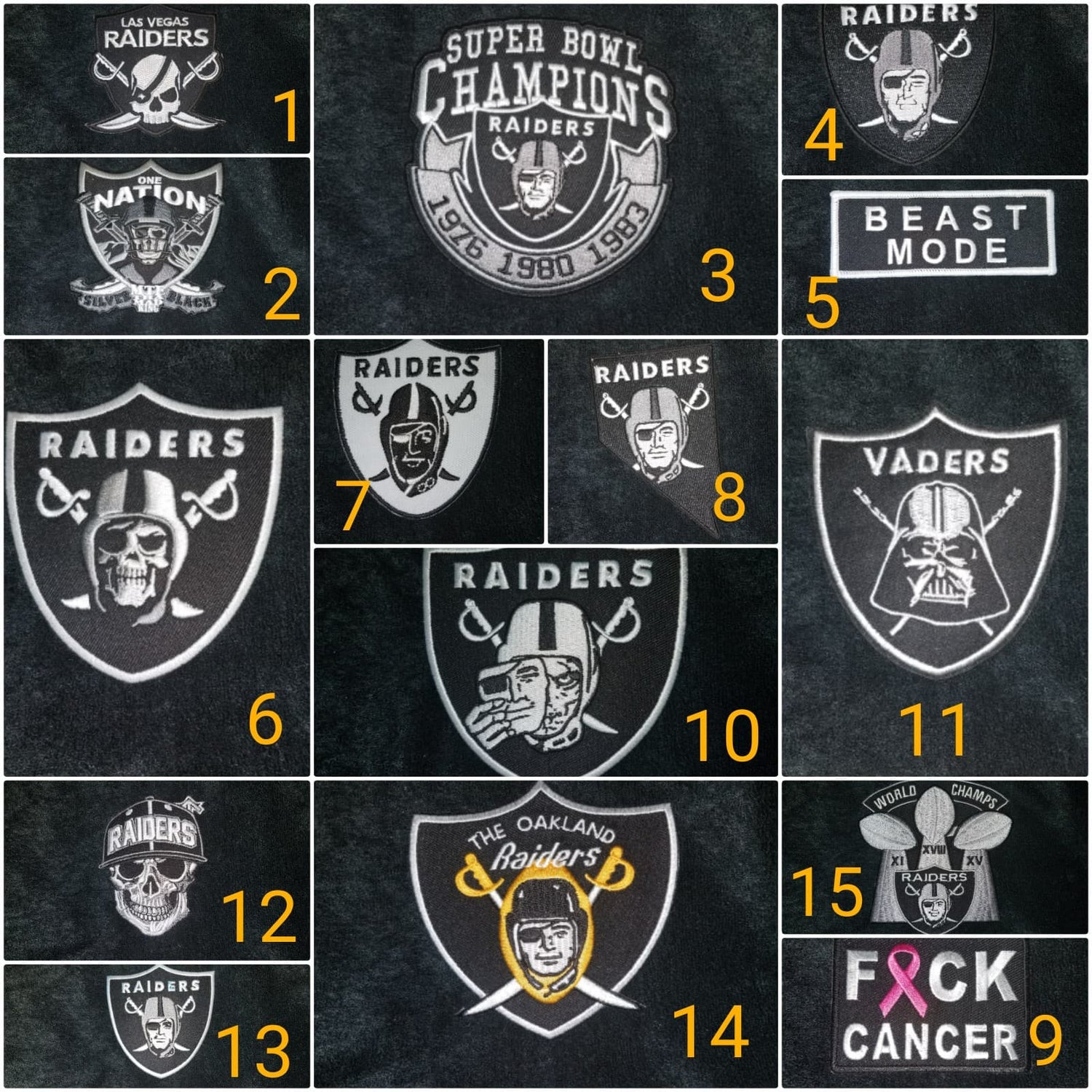 Image of Raiders Themed Shorts a & All Patch Options