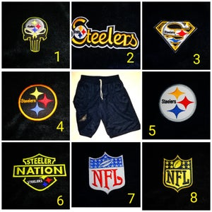 Image of Steelers Themed Shorts & Patch Options **