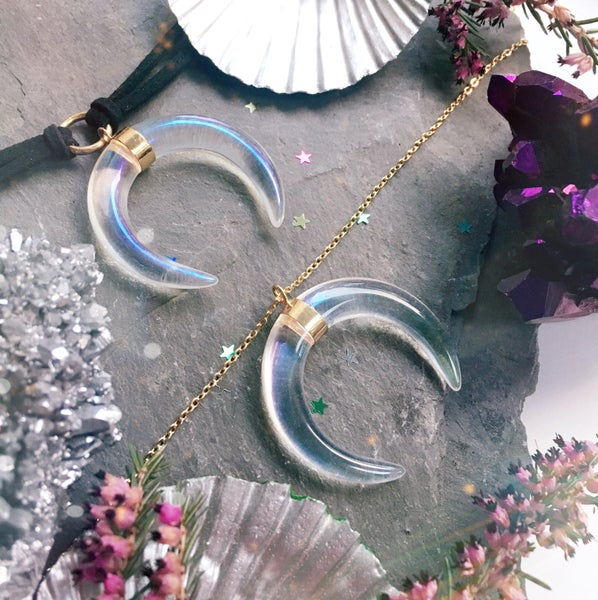 Image of Glassy Crescent Necklace - iridescent clear, gold plated