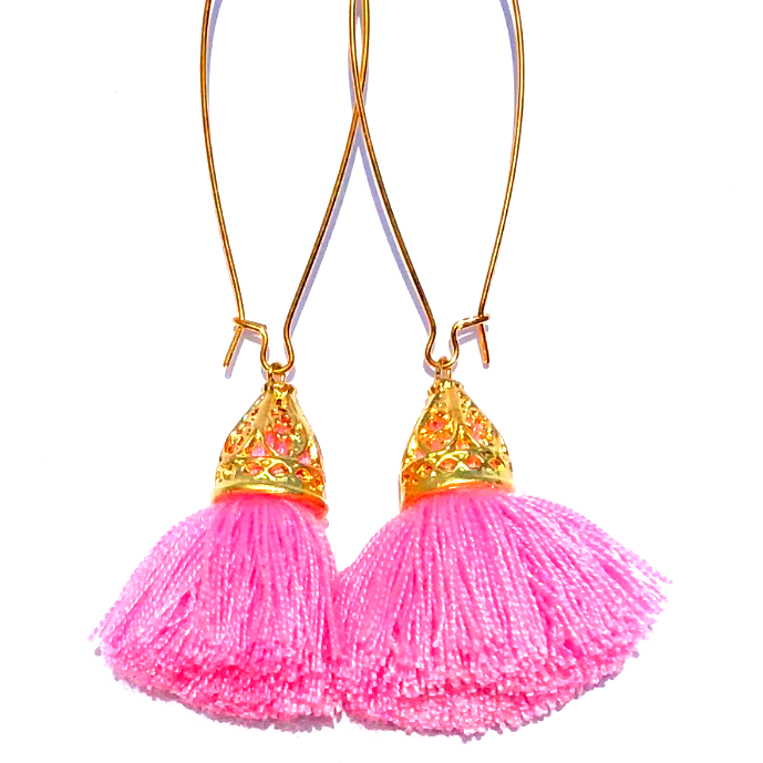 Image of Ltd Ed - Gold Waikiki Tassel Earrings - Fairy Floss Pink