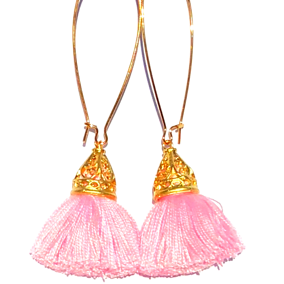 Image of Gold Waikiki Tassel Earrings - Powder Puff Pink
