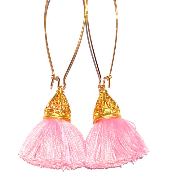 Image of Gold Waikiki Tassel Earrings - Powder Puff Pink