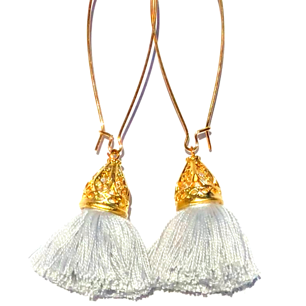 Image of Gold Waikiki Tassel Earrings - Silver Cloud