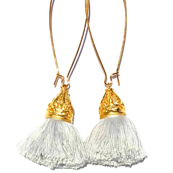 Image of Gold Waikiki Tassel Earrings - Silver Cloud