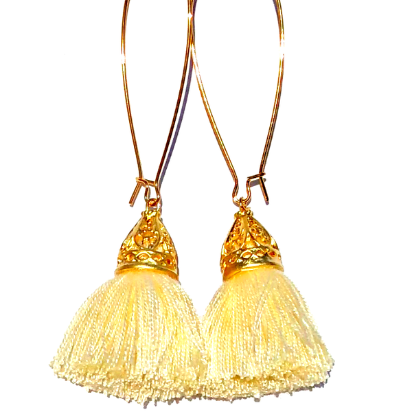 Image of Spring Clearance - Gold Waikiki Tassel Earrings - Vanilla Creme
