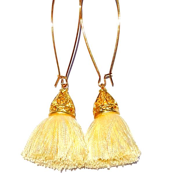 Image of Spring Clearance - Gold Waikiki Tassel Earrings - Vanilla Creme