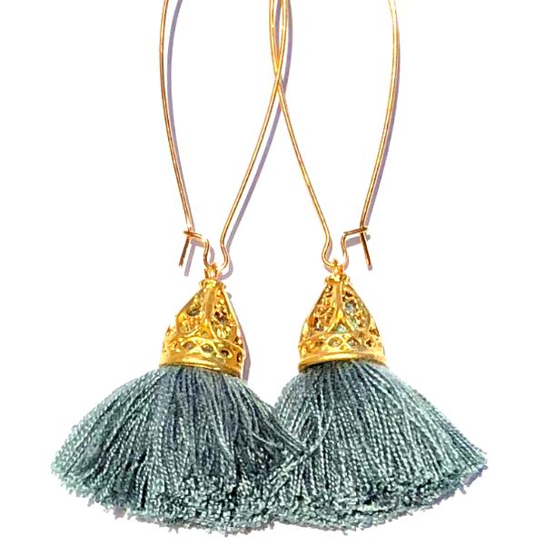 Image of Ltd Ed - Gold Waikiki Tassel Earrings - Platinum