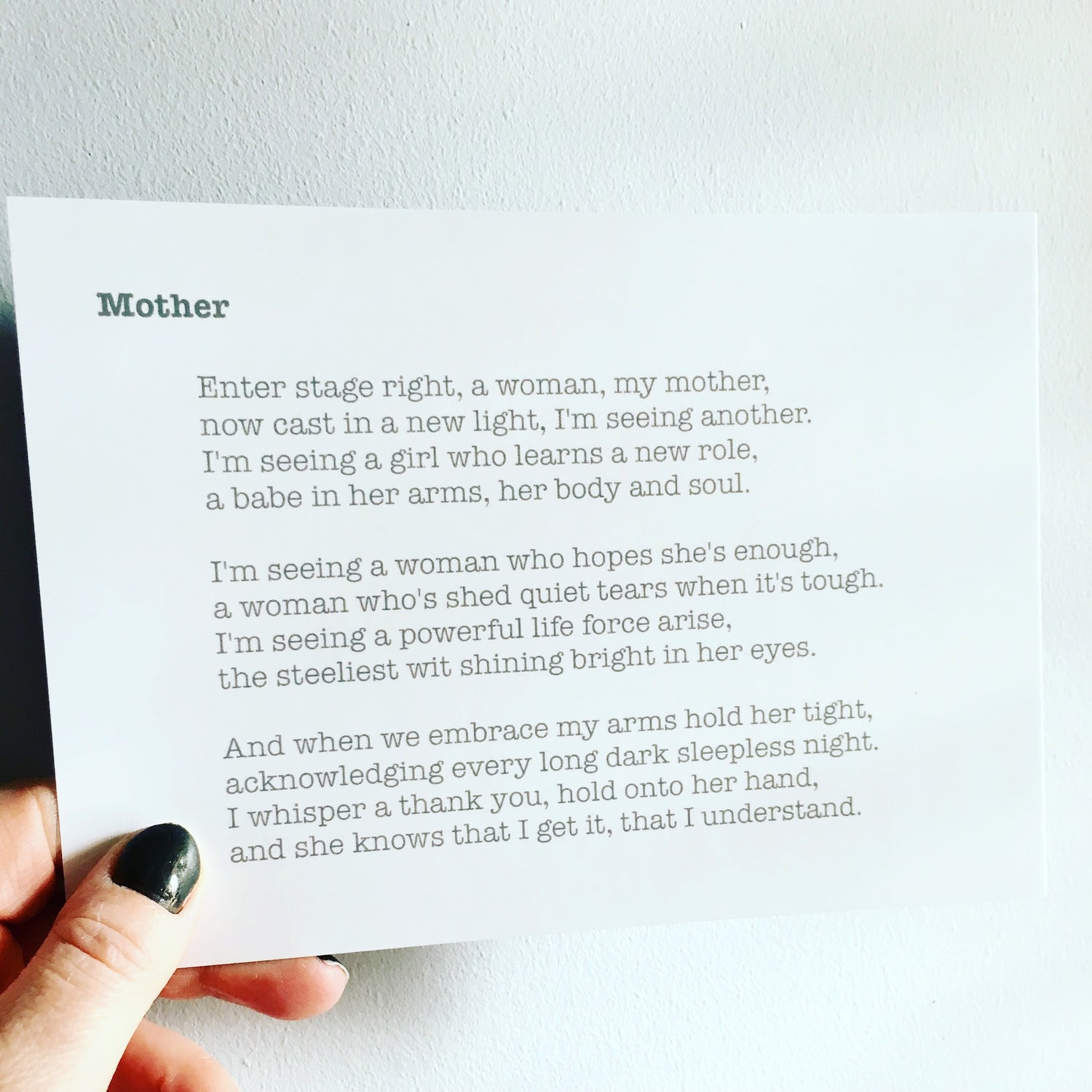 Image of Mother - Poem Postcard (Medium - 7x5 size)