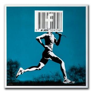 Image of JOY - Barcode runner print, blue
