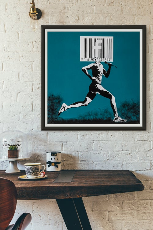 Image of JOY - Barcode runner print, blue