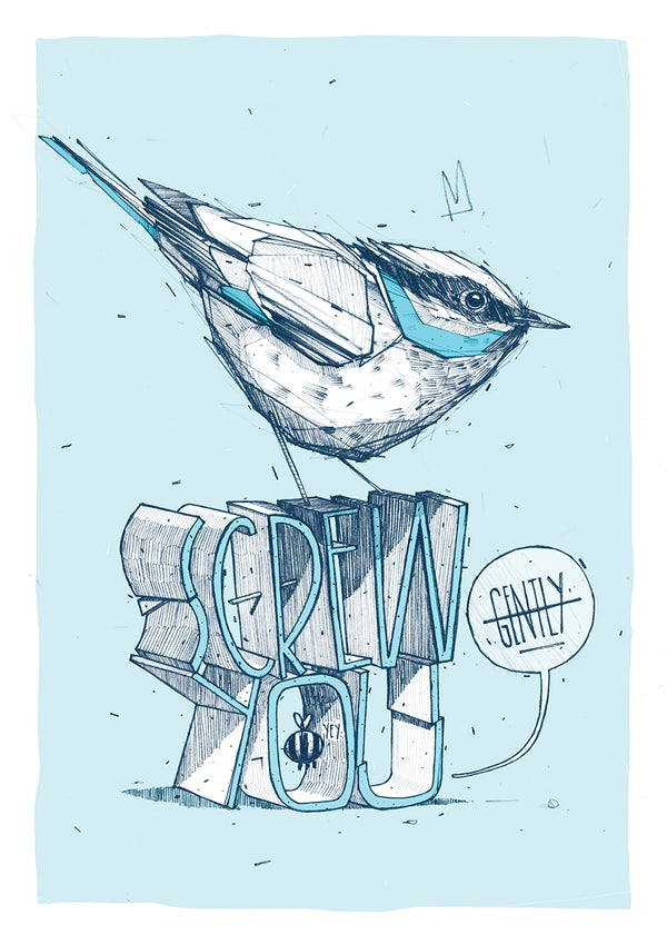 """Image of """"Screw you"""" - A4 print"""